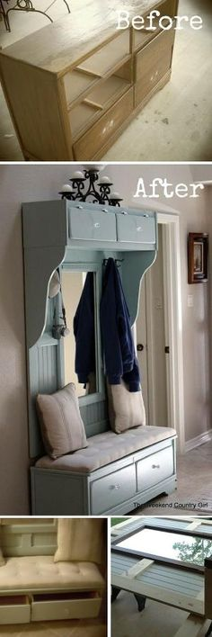 Check out the tutorial: #DIY Turn a Dresser into a Mudroom Bench #crafts by rhonda.white.52206