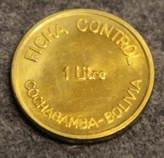 PIL Ficha Control 1litre, Cochabamba - Bolivia, milk token Bolivia, Control, Coins, Note Cards, Rooms