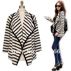 2012 new arrive hot sale free shipping Fashion black stripe women's blouse cardigan tops autumn coat