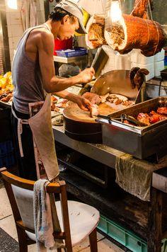 pork bbq, market, Kowloon, Hong Kong
