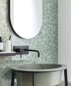 Artwork - Terrazzo Look Tiles Bathroom Goals, Bathroom Inspo, Master Bathroom, Terrazzo Tile, Tadelakt, Geometric Tiles, Beautiful Bathrooms, Bathroom Interior Design, Kitchen And Bath