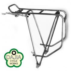 Designed for Touring, A nice stainless steel rack from Dajia Cycle Works. Intended fit is on a touring bike, short chain stays may result in heel clearance issues. Sandblasted finish gives it a very Steel Racks, Touring Bike, Bike Parts, Custom Bikes, Stainless Steel, Bike Stuff, Design, Hiking, Handsome
