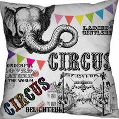 Baby Decor Circus Pillow Cover Cotton and Burlap Elephant Throw Cushion