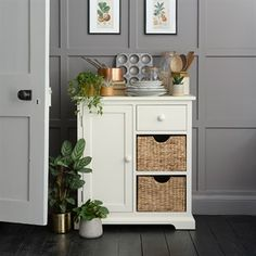 Farmhouse Painted Extra Small Sideboard - Ivory - The Cotswold Company Kitchen Sideboard, Sideboard Table, Small Sideboard, Hallway Furniture, Bathroom Furniture, Dining Room Furniture, Painted Furniture, Dining Rooms, Wooden Cabinets