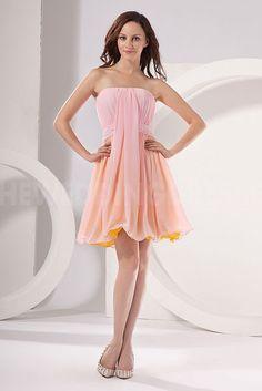Pink Chiffon Strapless Homecoming Dresses - Order Link: http://www.theweddingdresses.com/pink-chiffon-strapless-homecoming-dresses-twdn4611.html - Embellishments: Beading; Length: Floor Length; Fabric: Chiffon; Waist: Natural - Price: 175.4714USD