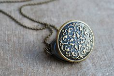 Vintage inspired locket // antique brass // keepsake by picturing