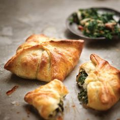 Spinach-and-bacon pies with cream-cheese pastry