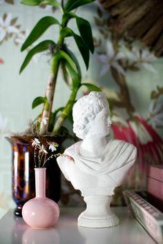 Furbish Studio styling, bust, peacock wallpaper, pink bud vase