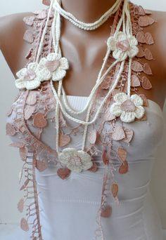 Lassos de fleur à la crème Saumon long foulard au crochet dentelle écharpe  crème lariat Summer neckscarf crochet bijoux Boho mode cadeaux 5737f8695da