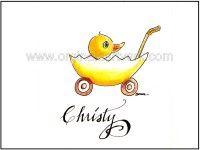 child's name - duckling in egg stroller