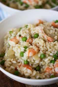 There's nothing intimidating about shrimp and pea risotto. The hardest part is waiting for it to be finished!