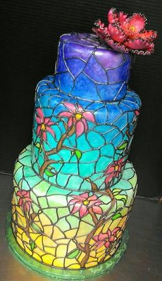 Stained Glass Wedding Cake. Stained Glass Painted Wedding Cake. Painted Cake. Summer Wedding. Tiered Wedding Cake. Wedding trends. Wedding Planning. Wedding Cake.