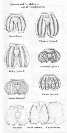 Sewing Pattern - Medieval and Renaissance Paned Slops and Breeches Pattern; Multisized waist Paned Slops and Breeches Pattern, Multisized waist. Elizabethan Clothing, Elizabethan Costume, Elizabethan Fashion, Tudor Fashion, Elizabethan Era, Medieval Costume, Men's Renaissance Costume, Mode Renaissance, Renaissance Fashion