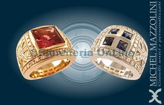 due anelli della collezione City by Night. Anello in oro rosa con tormalina rosa e diamanti. Anello in oro bianco con zaffiri e diamanti.