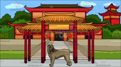 A Big Shar Pei Dog With A Chinese Temple Background :  A brown dog with excess skin brown muzzle head turning back as it lifts its tail and A red Chinese temple located at a very nice location with lots of trees and grass