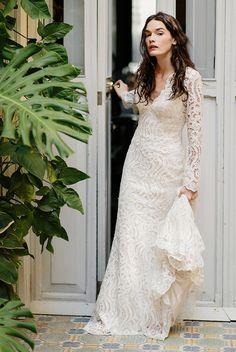 bohemian style white lace wedding dress