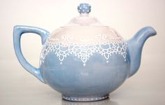 Victorian teapot handpainted with lace dotting by TheBabyHandprintCo on Etsy https://www.etsy.com/listing/84219182/victorian-teapot-handpainted-with-lace