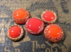 Red Moonglow Glass Shankless Buttons West Germany VINTAGE Red Gold Luster Buttons Five (5) Vintage Buttons Jewelry Sewing Supplies (J118) by punksrus on Etsy