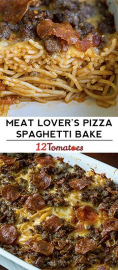 Meat lover pizza spaghetti baking Meat is animal flesh that's eaten as food. Pasta Dishes, Food Dishes, Main Dishes, Spaghetti Recipes, Spaghetti Bake, Pizza Baked Spaghetti, Pizza Spaghetti Casserole, Italian Dishes, Italian Recipes