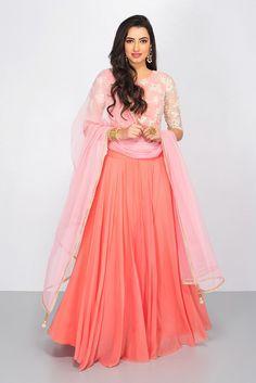 THE PEACH PROJECT peach embroidered lehenga #flyrobe #weddings #indianweddings #mehendioutfits #indianbride #designerwear #lehengacholi