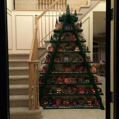 Christmas Village Tree made with a Ladder Ladder Christmas Tree, Christmas Village Display, Christmas Villages, Noel Christmas, Christmas Projects, Winter Christmas, Christmas Tree Decorations, Xmas Tree, Christmas Houses