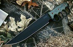 Argonne Assault LB - Black Finish/Black Canvas Micarta Handle by Busse Blades