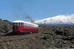 Circumetnea train near Bronte with Etna in the background