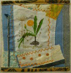 """Dandelion by © Debra L. Dixon, 2013 In the show, The Texas Experience, traveling around the state of TX 2014. machine embroidery, hand embroidery and machine quilting 12 x 12"""""""