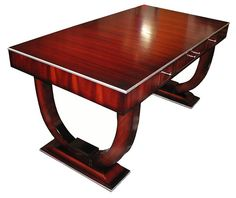 """Exquisite French Art Deco Ruhlmann partner's desk in the highly desirable """"U"""" base style."""