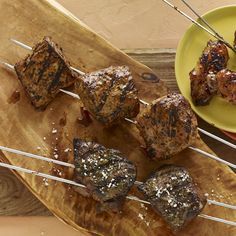 Brazilian-Style Garlic-Cilantro Steak Skewers - http://stlcooks.com/2014/06/brazilian-style-garlic-cilantro-steak-skewers/