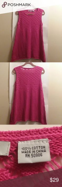 "EIGHT EIGHT EIGHT KNIT TUNIC, SIZE LARGE PLEASE FEEL FREE TO ASK QUESTIONS BEFORE PURCHASE  NWOT, NEVER WORN COLOR: FUSCHIA  PATTERNED KNIT TUNIC TWO SLITS ON THE SIDES 29"" LONG FROM THE SHOULDER  SEE 3RD PIC FOR FABRIC CONTENT EIGHT EIGHT EIGHT Tops Tunics"