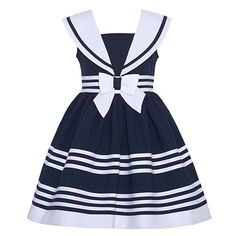 online shopping for Bonnie Jean Girls' Nautical Collar Sailor Dress from top store. See new offer for Bonnie Jean Girls' Nautical Collar Sailor Dress Mothers Day Dresses, Little Girl Dresses, Girls Dresses, Nautical Summer Dresses, Nautical Dress, Baby Girl Dress Patterns, Baby Dress, Toddler Fashion, Kids Fashion