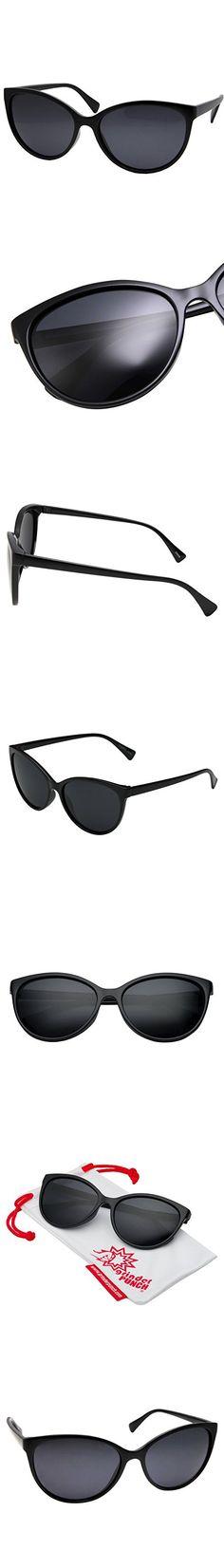 GrinderPUNCH Women's Polarized Cateye Sunglasses Lentes Black