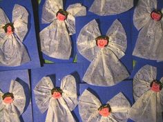 Tissue paper angles - christmas craft ideas for preschoolers for parents--small photos of kids faces on head. Preschool Christmas Crafts, Christmas Activities, Preschool Crafts, Holiday Crafts, July Crafts, Card Crafts, Preschool Ideas, Childrens Christmas, Christmas Projects