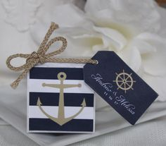 Nautical Favor Boxes 75 at 1.00 ea, with 2 in box. design on front and custom tags with  any event, simple assembly