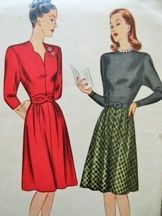 Vintage Simplicity 1462 Sewing Pattern, 1940s Dress Pattern, Day Dress, Bust 30, World War II Style, Forties Swing Dress, 40s Sewing Pattern di sewbettyanddot su Etsy https://www.etsy.com/it/listing/252757899/vintage-simplicity-1462-sewing-pattern