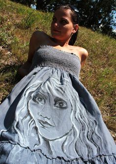 denim dress with my painting, painted by textil colors. From www.sashe.sk/Pubba