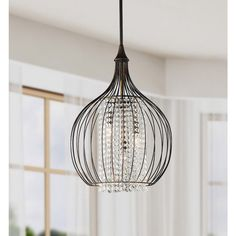 Indoor 3-light Copper/ Crystal Pendant Chandelier