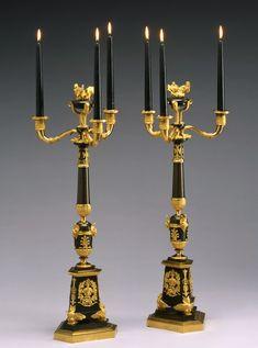 A pair of Empire four-light candelabra A pair of Empire four-light candelabra, Paris, date circa 1810-15