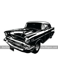 1957 CHEVROLET BEL AIR Chevrolet Bel Air, Chevrolet Logo, Car Vector, Vector Illustrations, Laser Engraving, Autos