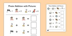 Pirate Themed Addition with Pictures Activity Sheets