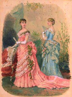 Victorian Fashion Plates - jailagracedunearchiduchesse: Fashions of 1883 Vintage Gowns, Mode Vintage, Vintage Ladies, Vintage Outfits, Vintage Hats, Victorian Women, Victorian Fashion, Vintage Fashion, French Fashion