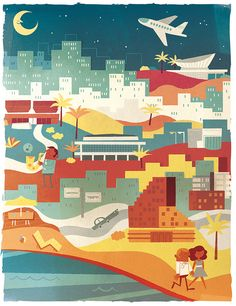 An old illustrated poster for a travel magazine. Tel Aviv.