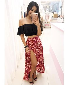 Roupas para luau, roupas para o natal, roupas para gordinhas, roupas de festa Mode Outfits, Skirt Outfits, Chic Outfits, Dress Skirt, Boho Fashion, Girl Fashion, Fashion Dresses, Fashion Looks, Cute Summer Outfits