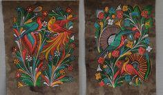 mexican folk art bark paintings Birds / Phoenix and flowers - 2 vintage folk art… Folk Art Flowers, Flower Art, Pictures To Paint, Art Pictures, Mexican Paintings, Dot Art Painting, Art Paintings, Mexican Folk Art, Simple Art