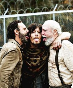 Boys will be boys no matter the age. lol  Andrew Lincoln, Norman Reedus and Scott Wilson from The Walking Dead