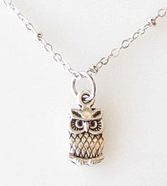tiny owl necklace, owl jewelry silver necklace simple short necklace owl charm gift for girl jewelry for teens
