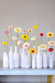 colorful gerbera daisies in milk glass vases Fresh Flowers, Beautiful Flowers, Happy Flowers, Decoration Evenementielle, Deco Floral, Bottle Crafts, Floral Arrangements, Wedding Flowers, Gerbera Wedding