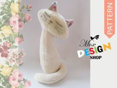 Cat Kitten PDF sewing pattern & tutorial, Plush Pattern,kitty, girl, boy, cloth, fabric, simple, easy, softie, stuffed, sew, soft, toy, gift