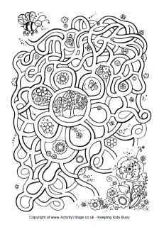Spring flower maze and other printable activities